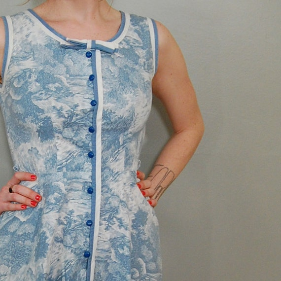 1960's Powder Blue Floral Landscape Cotton Dress, M