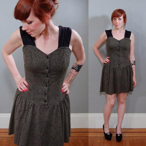 80's Olive and Black Jersey Cheetah Dress, M/L