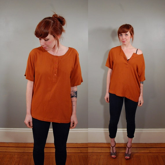 90's Rusty Brown Soft Rayon Slouchy HENLEY Tee, M/L