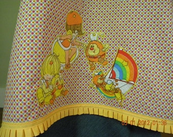 Vintage Rainbow Brites Friends Lala Orange and Canary Yellow Apron Style Shirt