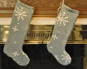 A Pair of Green Snowflake Stockings from Felted Wool