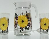 Glass and Pitcher Set Hand Painted with Yellow Sun Flower set includes pitcher with four matching glasses
