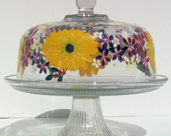 Hand Painted Cake Plate with Beautiful Sun Flowers