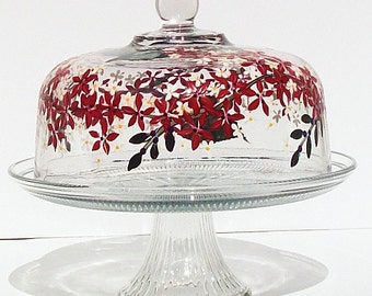 Hand Painted Cake Plate  with Fire Engin Red Flowers