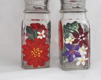 Hand Painted Salt and Pepper Shaker SetPainted with Beautiful Red, Berry Wine, and Red Violet Flowers