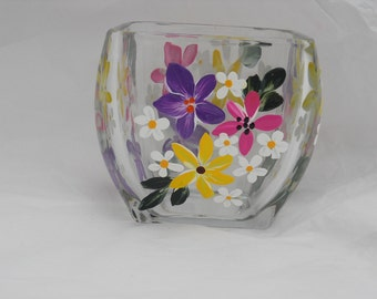 Votive Hand Painted with Beautiful Flowers