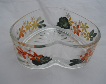 Heart Shaped Candy Dish Hand Painted with Beautiful  Yellow and Orange Flowers