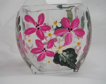 Votive Hand Painted with Beautiful Pink Flowers