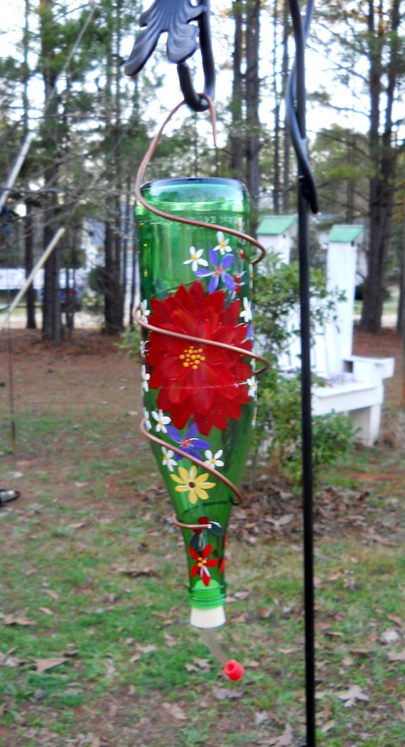 Hummingbird Feeder Green Recycled Bottle Beautifully Hand Painted