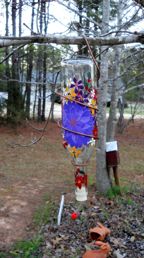 Hummingbird Feeder Hand Painted Recycled Glass Bottle