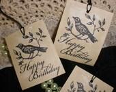 SALE Happy Birthday Mr. Bird Tags. Set of 8.