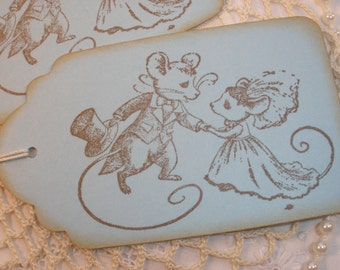 Wedding Wish Tags Mouse Bride and Groom Set of 6 Large Gift Tags