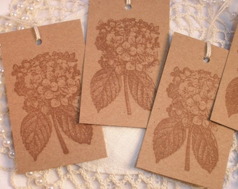 Hydrangea Flower Tags Wedding Bridal Shower Thank You Party Supplies Kraft paper Set of 10