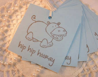 Happy Hippo Gift Tags Set of 8