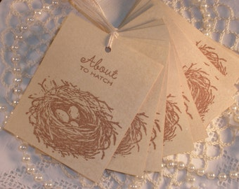 Baby Shower Birds Nest Tags Vintage Inspired Set of 30