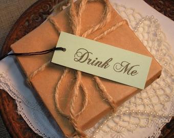 Alice in Wonderland Drink Me Tags Mad Hatter Tea Party Wedding Bridal Shower Mint Green Set of 20