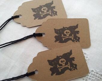 Pirate Skull Flag Mini Kraft Tags Set of 30