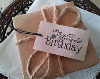 Happy Birthday Vintage Inspired Tags Set of 8