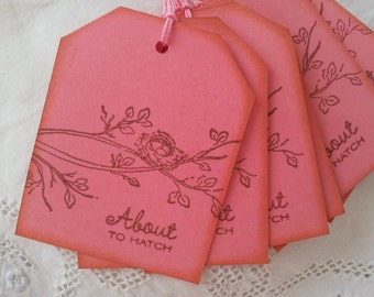 About to Hatch Nest Baby Shower Tags Pink Its a Girl Set of 6