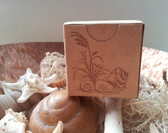 Nautical Sand and Shell Kraft Boxes Bridal Shower Wedding Favors Set of 6