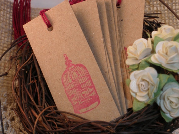 Bird Cage Tags Vintage Inspired Kraft Set of 20