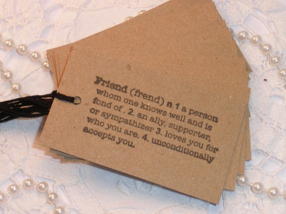 Definition of a Friend Kraft Tags Set of 10