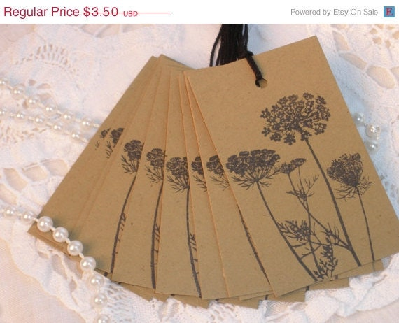 CHRISTMAS SALE 10 Vintage Inspired Queen Anne's Lace Kraft Tags