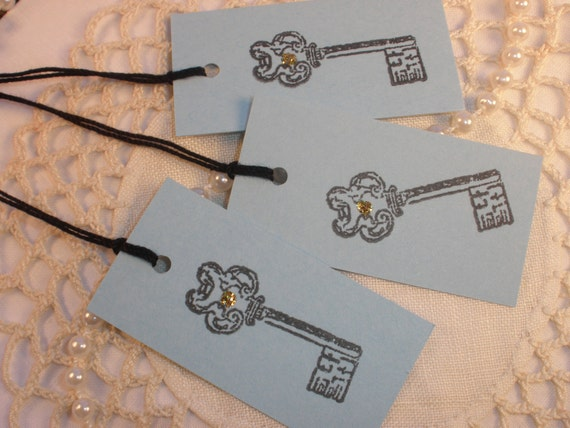 50 Hand Stamped Skeleton Key Wedding Gift and Favor Tags