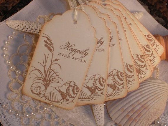 Wedding Tags Sand and Shells Happily Ever After Set of 6