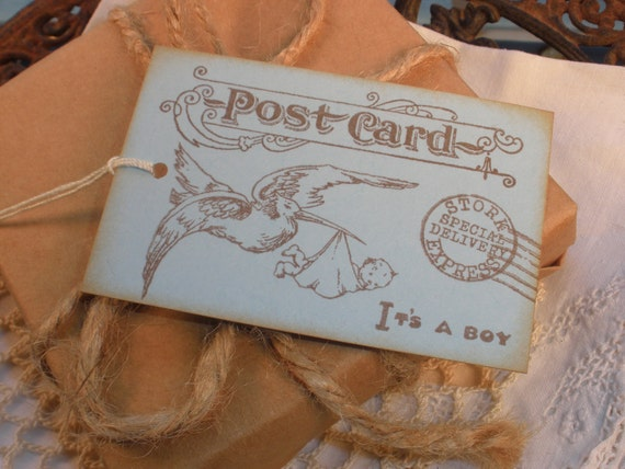Its a Boy Postcard Tags Vintage Inspired Set of 6