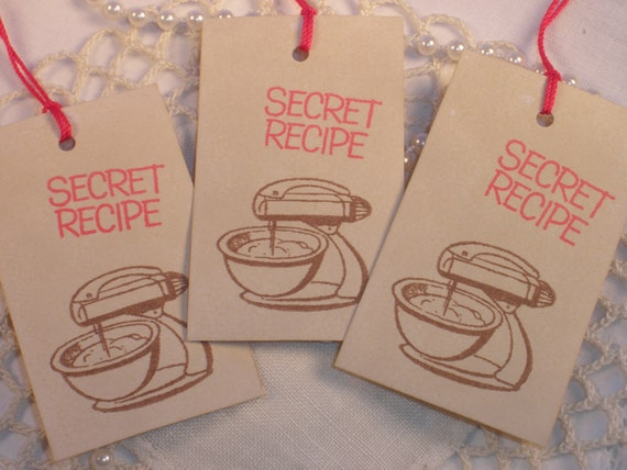 Cooking Baking Tags Secret Recipe Vintage Retro Mixer Coffee Stained Tags Set of 8