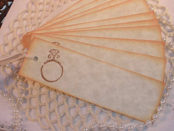 Wedding Ring Tags Set of 12