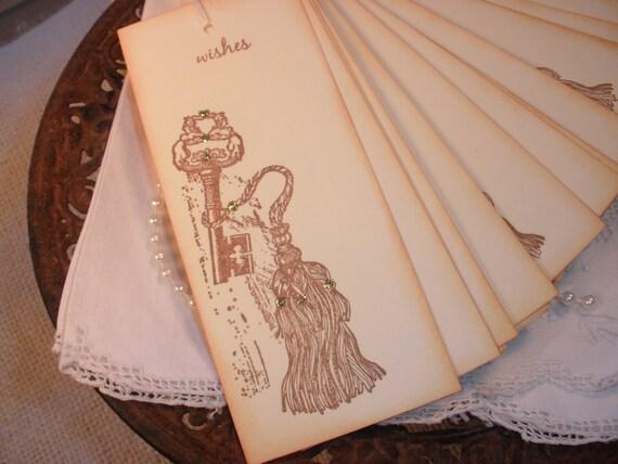Wedding Wish Tree Tags Skeleton Key Tassel Set of 25