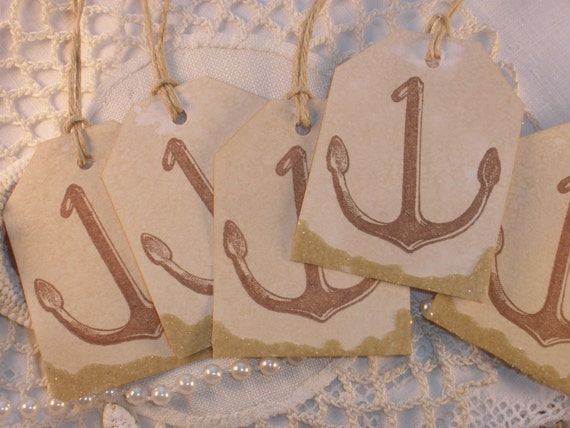 Brown Anchor Tags with Real Sand Accent Set of 6