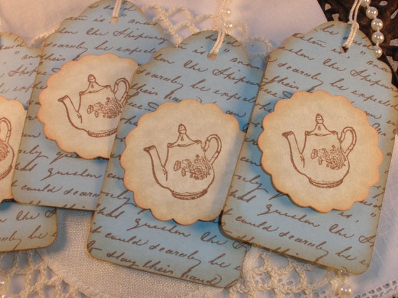 Vintage Inspired Teapot Tags Set of 8