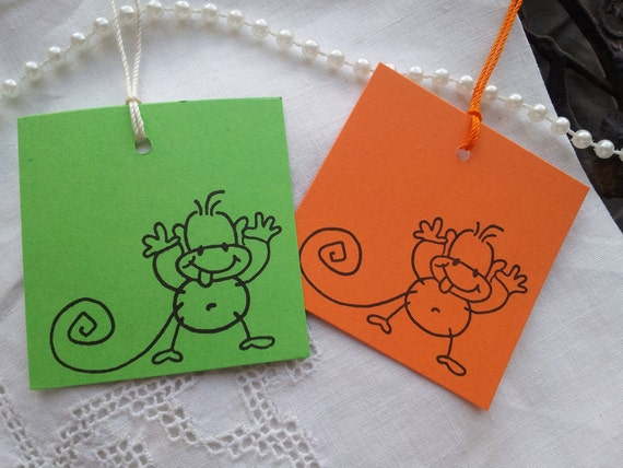 SALE Silly Monkey Tags Set of 10