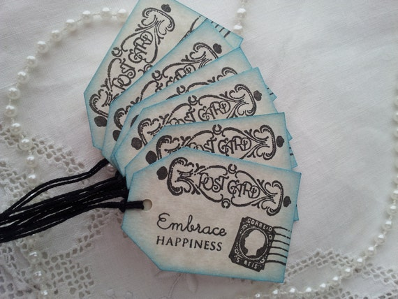 Happiness Post Card Tags Vintage Inspired Set of 6