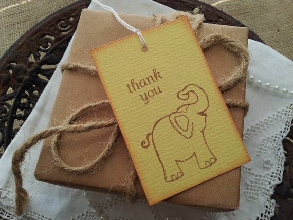 Baby Shower Tags Baby Elephant Thank You Set of 6