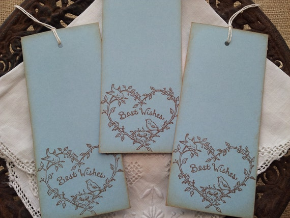 Wedding Wish Tags Bird Nest Heart Wreath and Flowers Set of 25