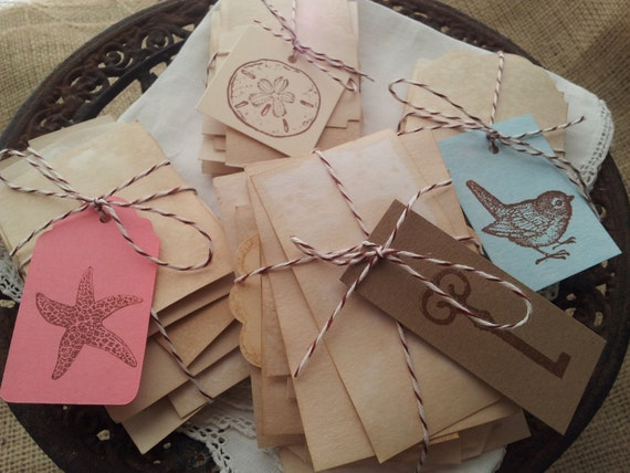 SALE Coffee Stained Tags Set of 100