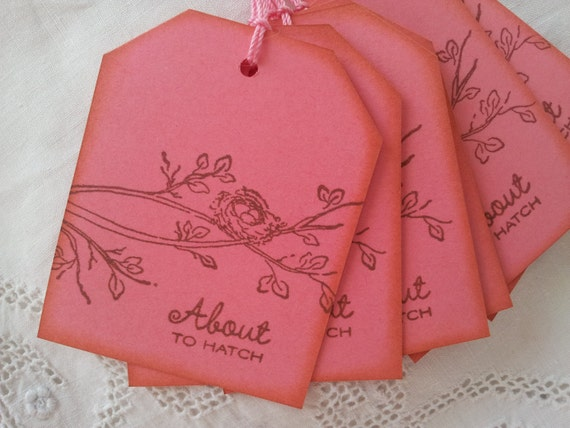 About to Hatch Nest Baby Shower Tags Set of 6
