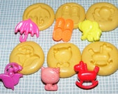 6 Molds From Vintage Buttons, Umbrella, Slippers, Elephant, Lily of the valley, Cat, Rocking horse