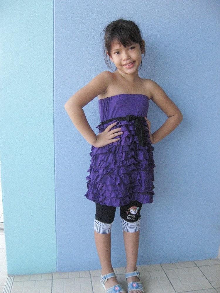 Ruffle Strapless Sun Dress Kids Puple Free Size