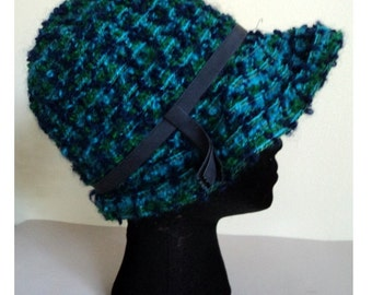 Vintage 1970's Blue Green Wool Cloche Hat // ANITA PINEAULT / Brim / Union Made