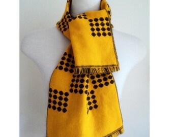 Vintage 1970's Scarf // Reversible Fall Winter Brown Yellow Polkadot Scarf