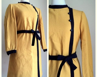 Vintage 1970s Yellow Navy Wool Mod Dress with Belt // SUSAN THOMAS // Mad Men Dress