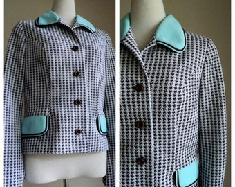 Vintage 1960's Jacket // LEROSE Houndstooth Cropped Suit Jacket Suit Jacket // British Blazer