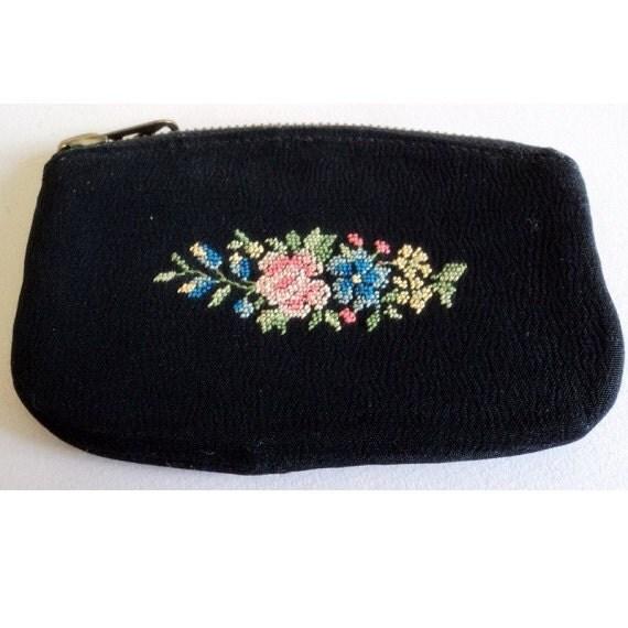 Vintage 1950's Black Floral German Petit Point Mini Coin Purse