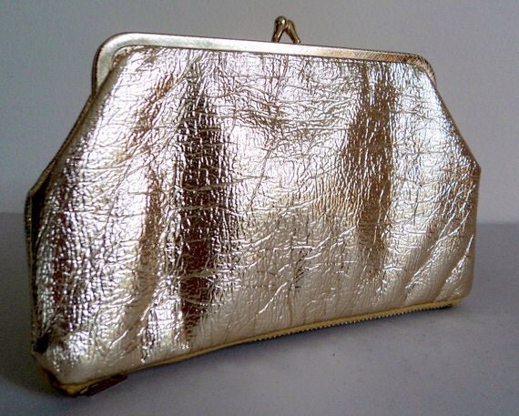 1960's Vintage Gold Vinyl Clutch/ Cosmetic Bag / Change Purse / Top & Bottom Compartment