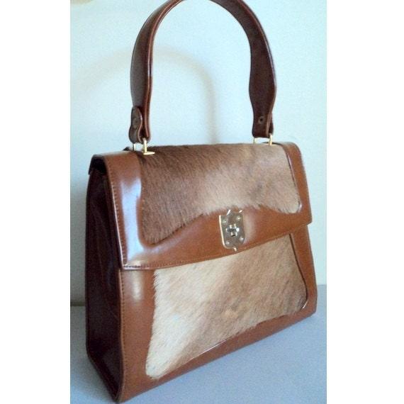 Vintage 1960's Faux LeatherBrown Pony Hair Handbag // Kelly Bag